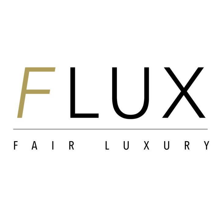 Logo of Flux saying Fair Luxury
