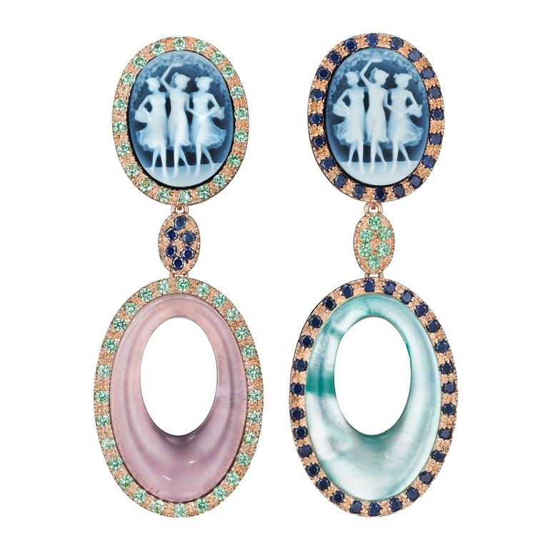 two cameo earrings