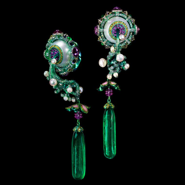 Wallace Chan's Birth and Blossom emerald earrings exhibited at the TEFAF fair in Maastricht.