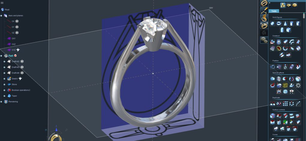 Tiffany solitaire ring in 3Design CAD