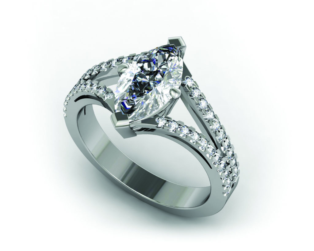marquis double split ring with micro pave, made in MatrixGold